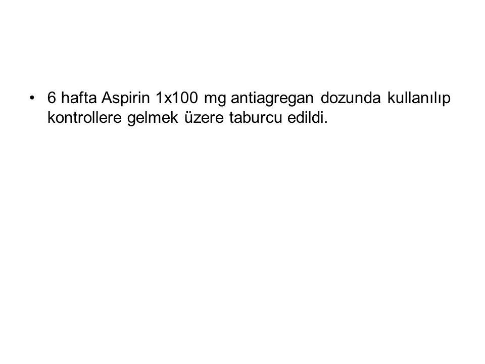 6 hafta Aspirin 1x100 mg antiagregan dozunda kullanılıp kontrollere gelmek üzere taburcu edildi.