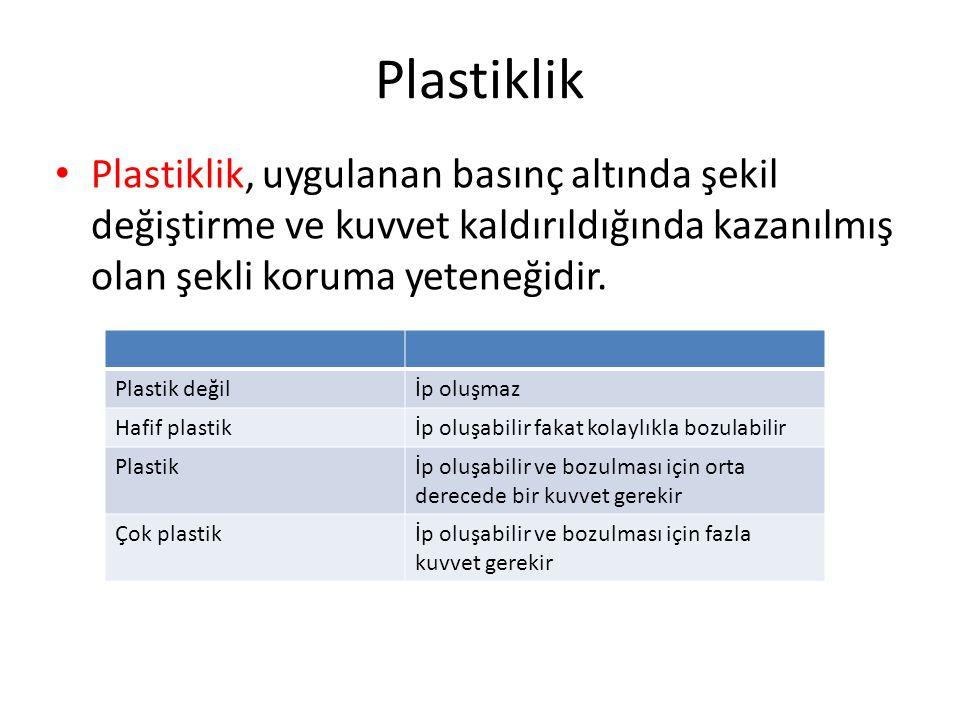Plastiklik Plastiklik, uygulanan basınç altında şekil değiştirme ve kuvvet kaldırıldığında kazanılmış olan şekli koruma yeteneğidir.