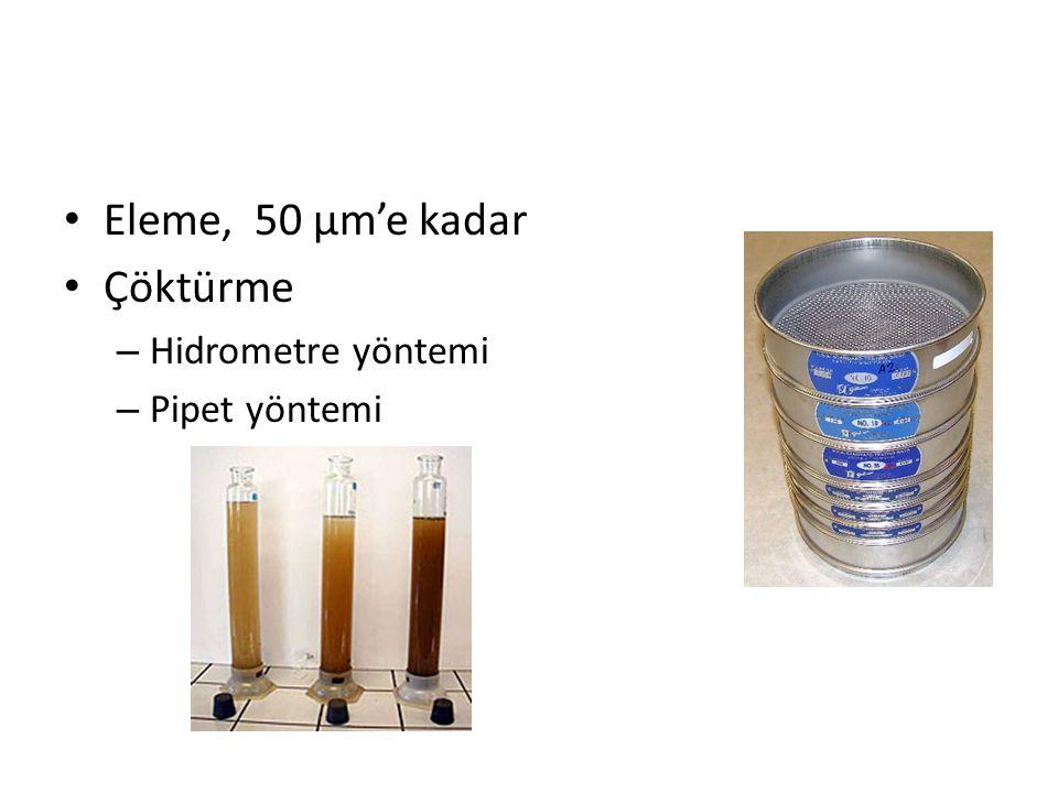 Eleme, 50 µm'e kadar Çöktürme Hidrometre yöntemi Pipet yöntemi