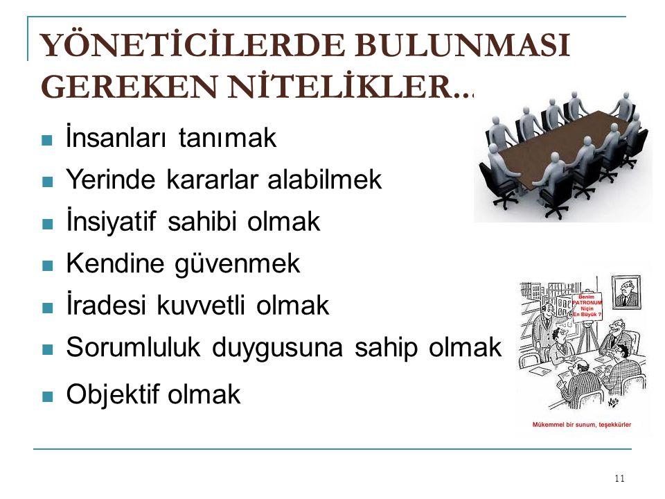YÖNETİCİLERDE BULUNMASI GEREKEN NİTELİKLER...