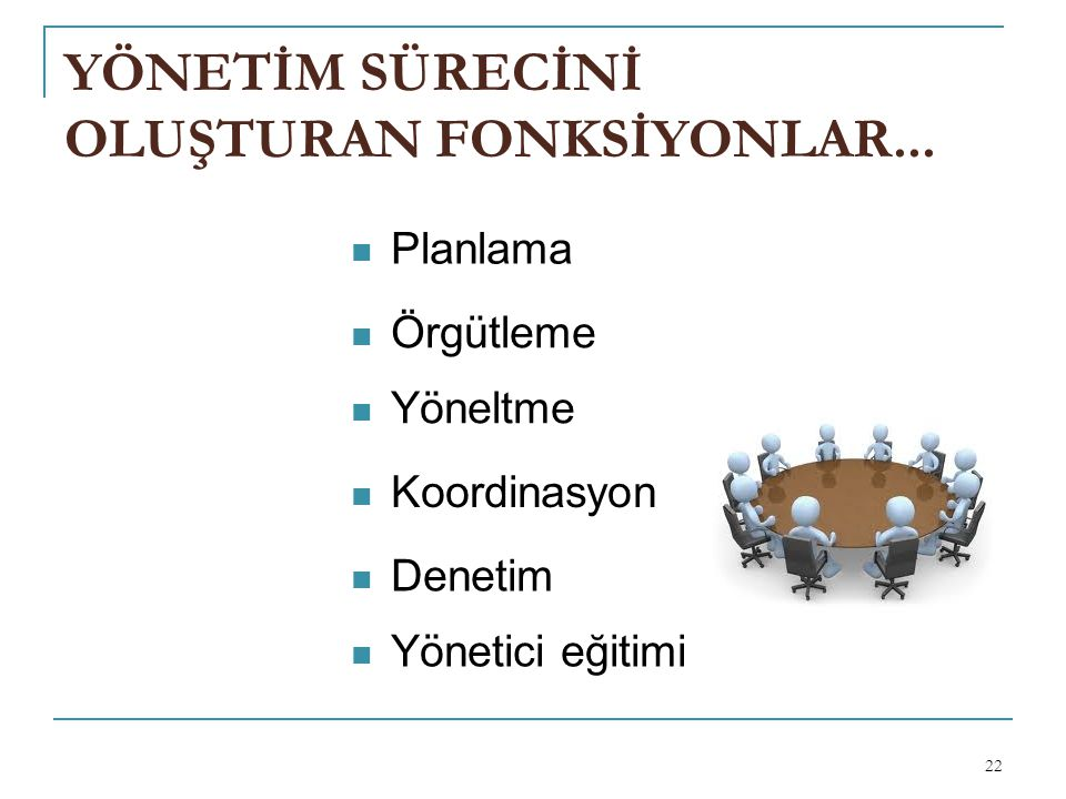 YÖNETİM SÜRECİNİ OLUŞTURAN FONKSİYONLAR...