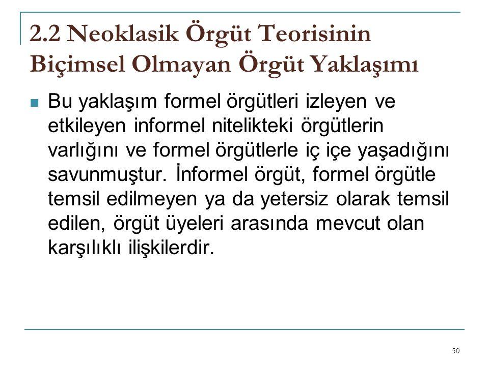 2.2 Neoklasik Örgüt Teorisinin Biçimsel Olmayan Örgüt Yaklaşımı