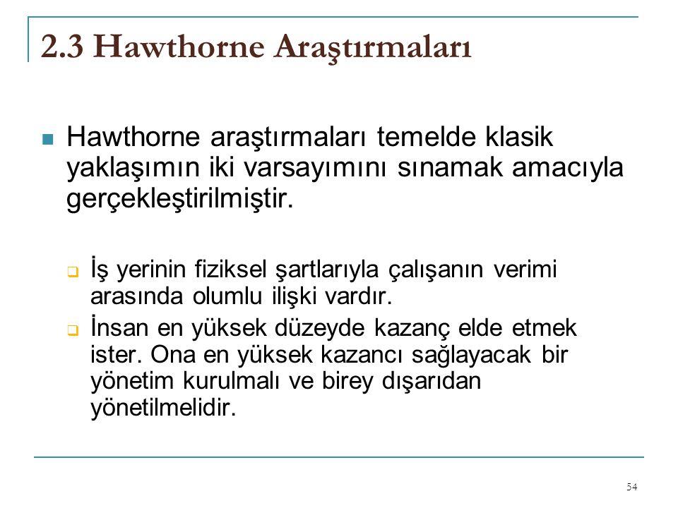 2.3 Hawthorne Araştırmaları