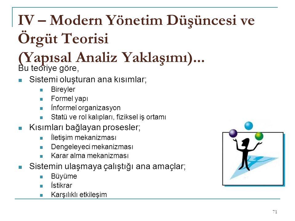 IV – Modern Yönetim Düşüncesi ve Örgüt Teorisi (Yapısal Analiz Yaklaşımı)...