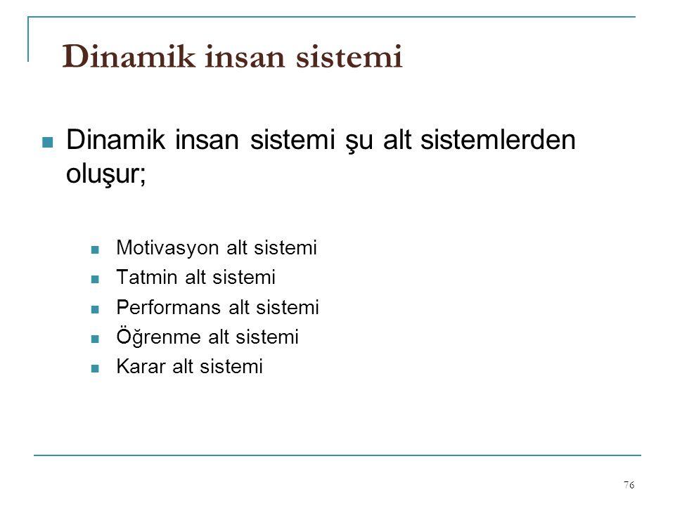 Dinamik insan sistemi Dinamik insan sistemi şu alt sistemlerden oluşur; Motivasyon alt sistemi. Tatmin alt sistemi.