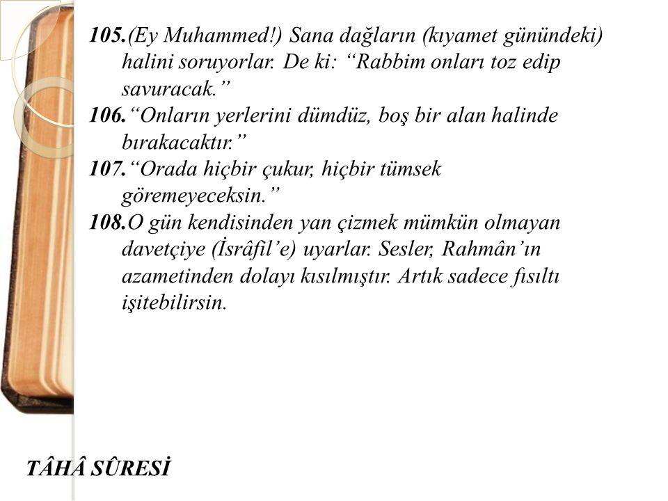105.(Ey Muhammed!) Sana dağların (kıyamet günündeki) halini soruyorlar. De ki: Rabbim onları toz edip savuracak.
