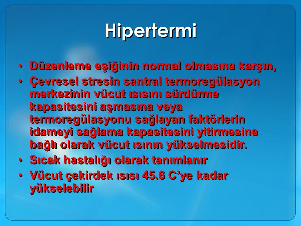 Hipertermi Düzenleme eşiğinin normal olmasına karşın,