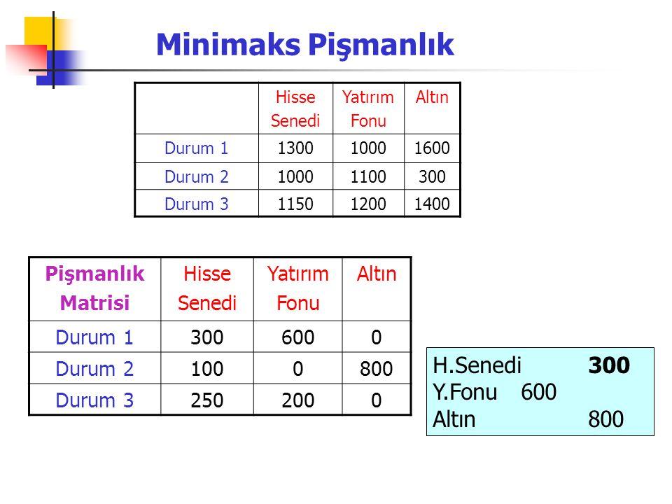 Minimaks Pişmanlık H.Senedi 300 Y.Fonu 600 Altın 800 Pişmanlık Matrisi