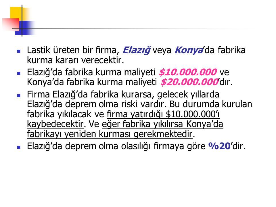 Lastik üreten bir firma, Elazığ veya Konya'da fabrika kurma kararı verecektir.