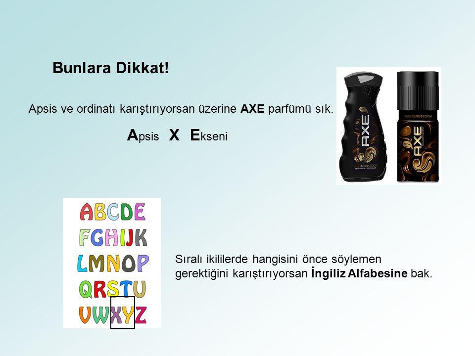 Bunlara Dikkat! Apsis ve ordinatı karıştırıyorsan üzerine AXE parfümü sık. Apsis X Ekseni.