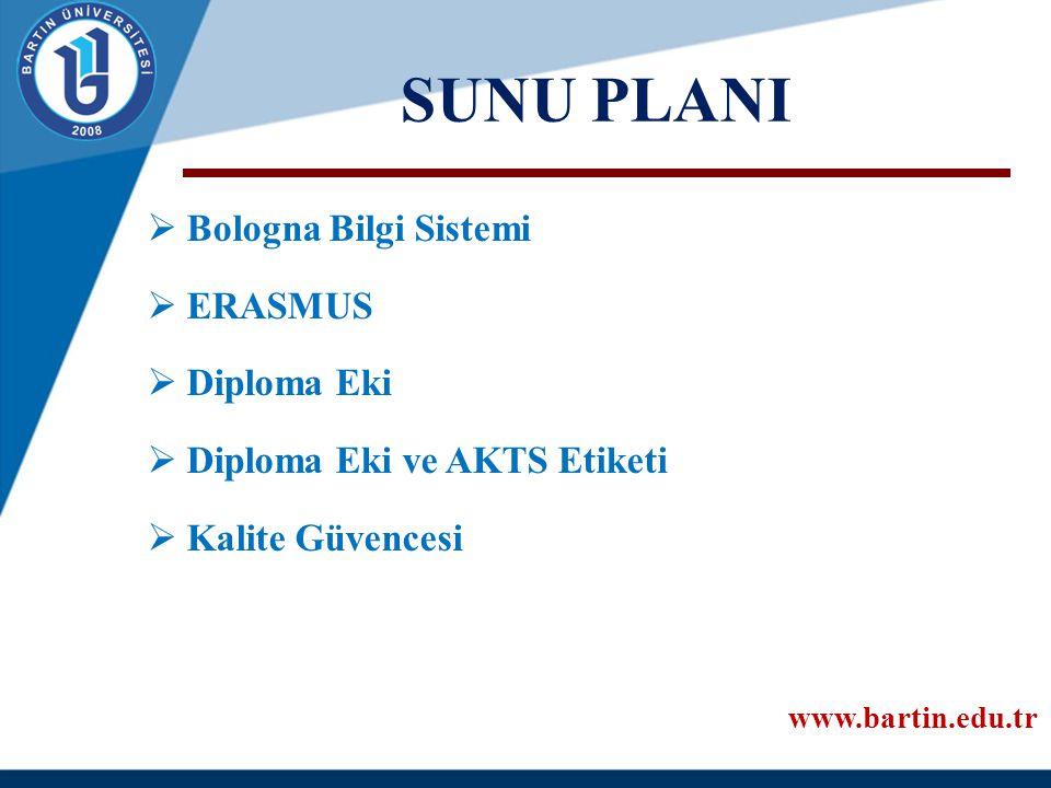 SUNU PLANI Bologna Bilgi Sistemi ERASMUS Diploma Eki