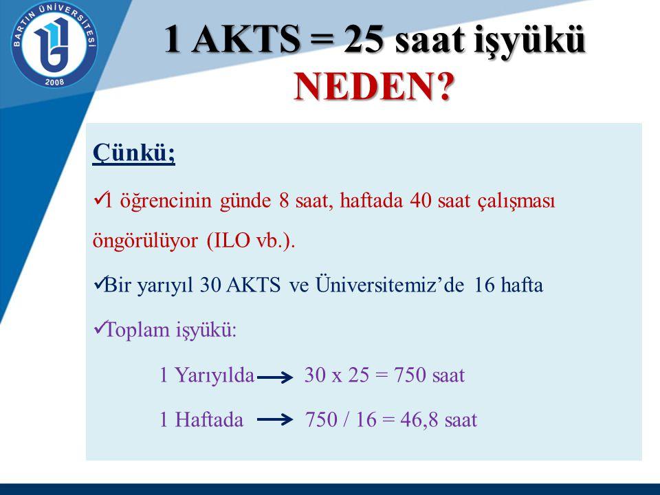 1 AKTS = 25 saat işyükü NEDEN