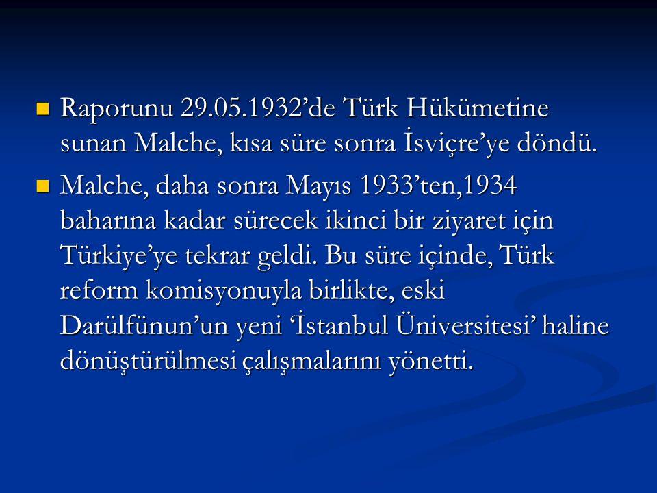 Raporunu 29.05.1932'de Türk Hükümetine sunan Malche, kısa süre sonra İsviçre'ye döndü.
