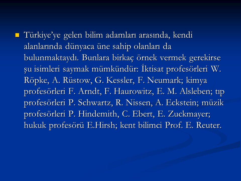 Türkiye'ye gelen bilim adamları arasında, kendi alanlarında dünyaca üne sahip olanları da bulunmaktaydı.