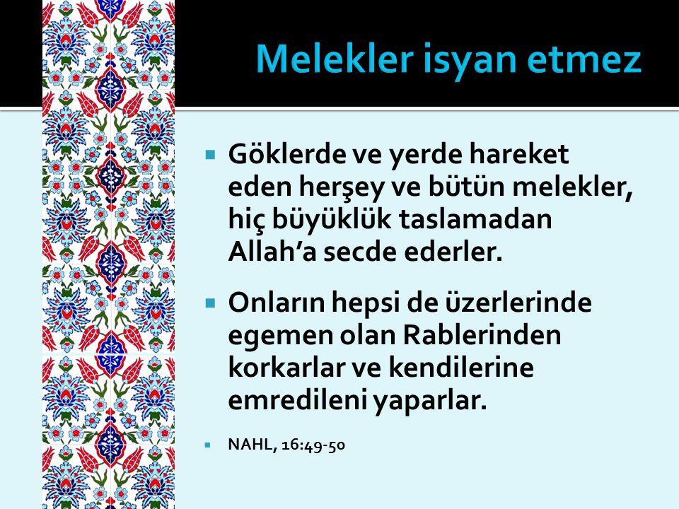 Melekler isyan etmez Göklerde ve yerde hareket eden herşey ve bütün melekler, hiç büyüklük taslamadan Allah'a secde ederler.