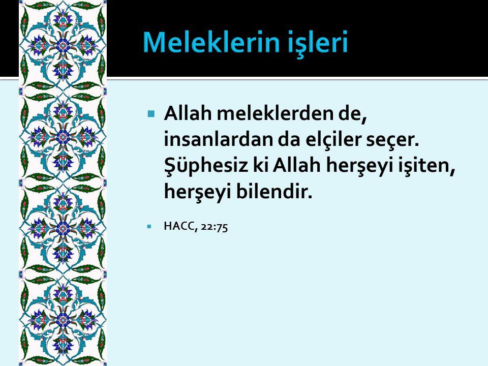 Meleklerin işleri Allah meleklerden de, insanlardan da elçiler seçer. Şüphesiz ki Allah herşeyi işiten, herşeyi bilendir.