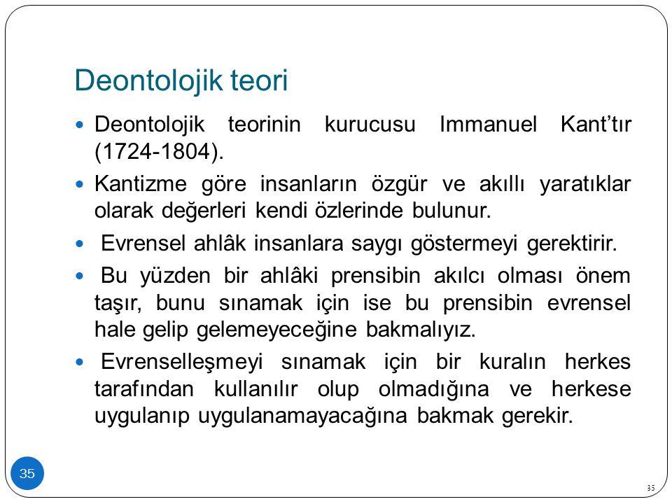 Deontolojik teori Deontolojik teorinin kurucusu Immanuel Kant'tır (1724-1804).