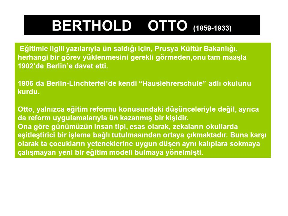 BERTHOLD OTTO (1859-1933)