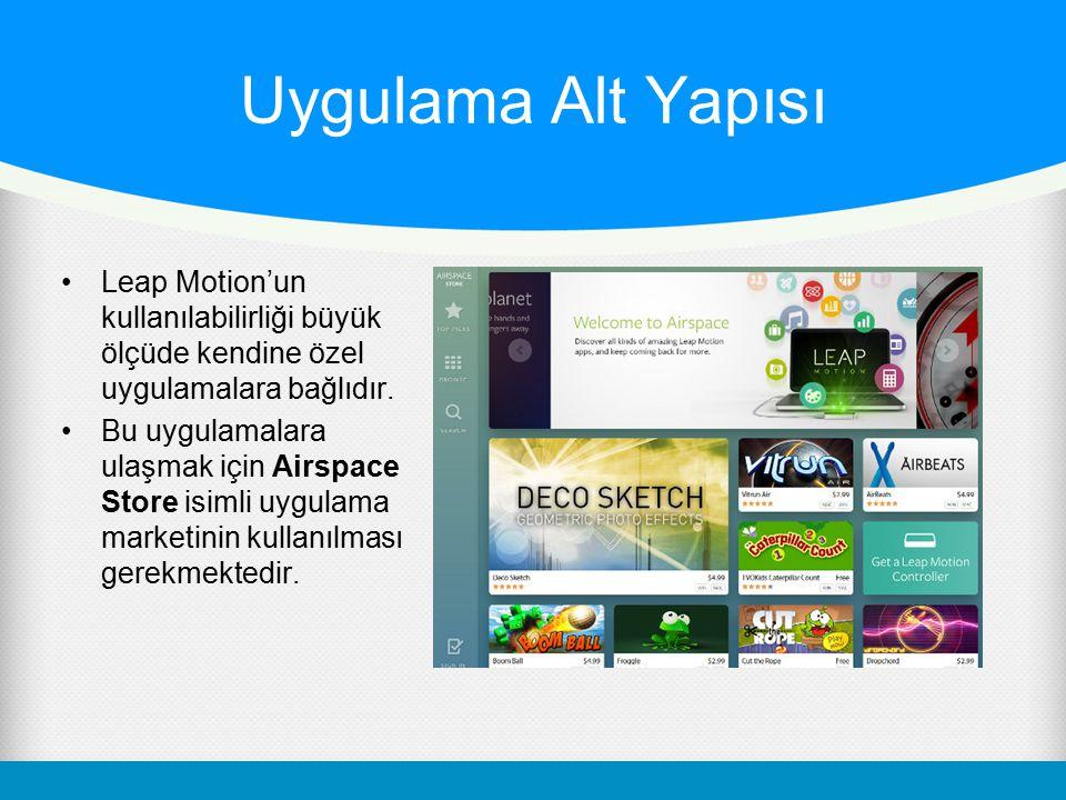 Uygulama Alt Yapısı Leap Motion'un kullanılabilirliği büyük ölçüde kendine özel uygulamalara bağlıdır.