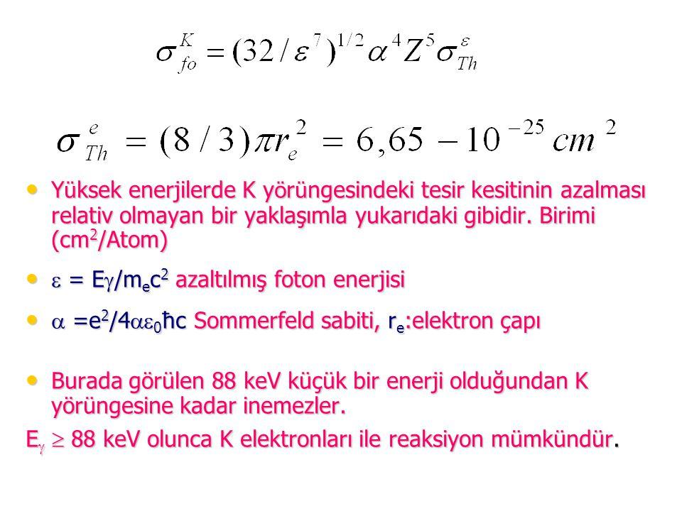 Yüksek enerjilerde K yörüngesindeki tesir kesitinin azalması relativ olmayan bir yaklaşımla yukarıdaki gibidir. Birimi (cm2/Atom)