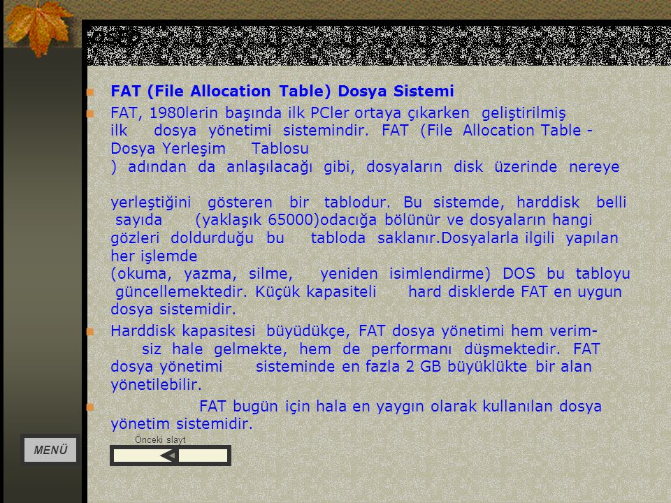 DSFD FAT (File Allocation Table) Dosya Sistemi