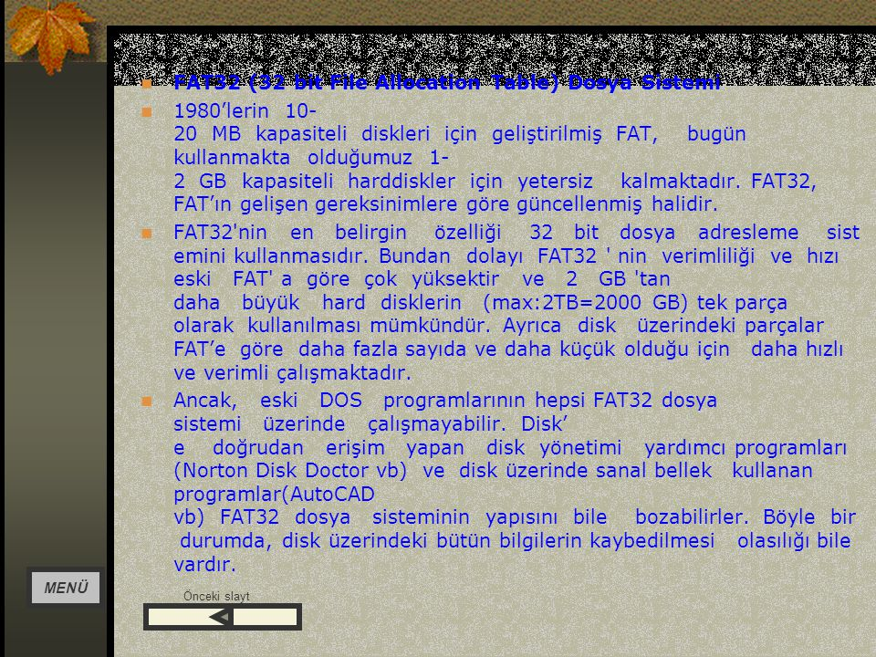 FAT32 (32 bit File Allocation Table) Dosya Sistemi