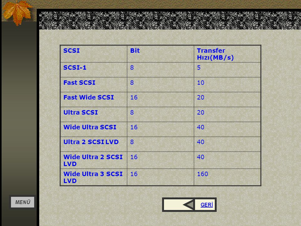 SCSI Bit Transfer Hızı(MB/s) SCSI-1 8 5 Fast SCSI 10 Fast Wide SCSI 16