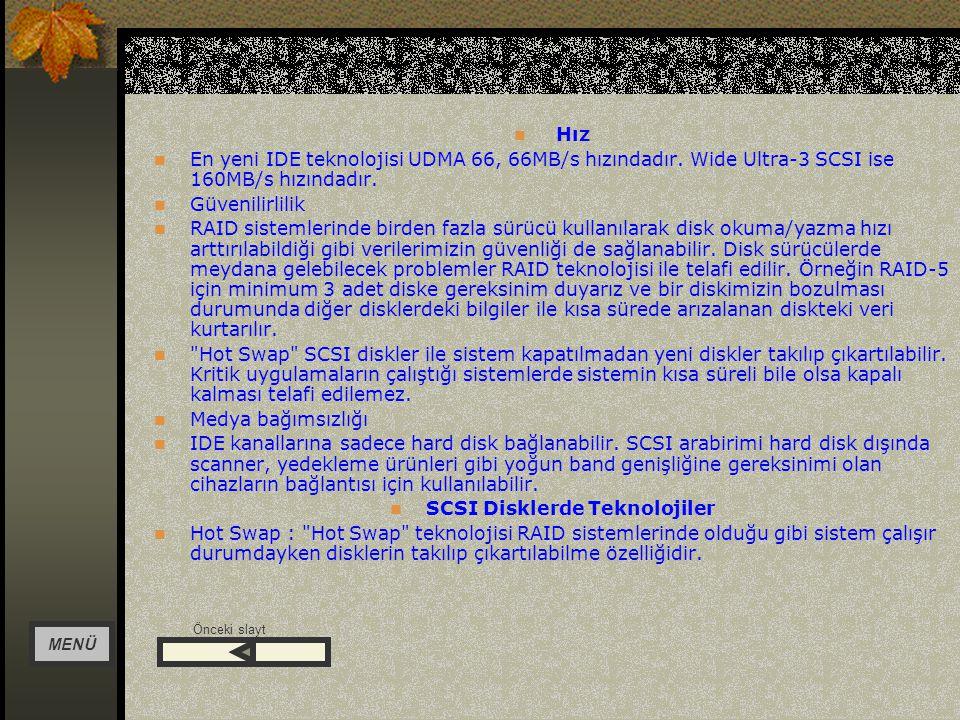 SCSI Disklerde Teknolojiler