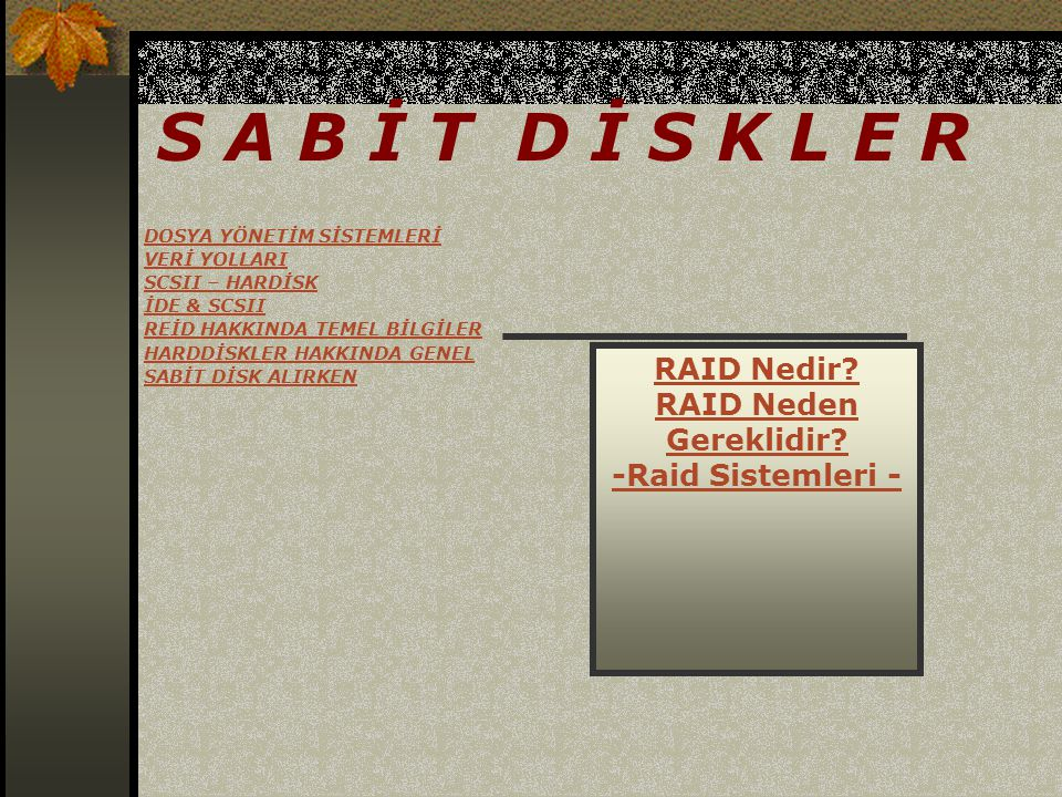 S A B İ T D İ S K L E R RAID Nedir RAID Neden Gereklidir