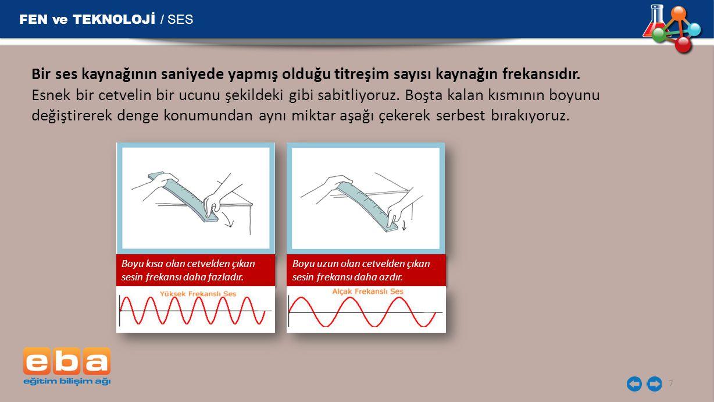 FEN ve TEKNOLOJİ / SES Bir ses kaynağının saniyede yapmış olduğu titreşim sayısı kaynağın frekansıdır.