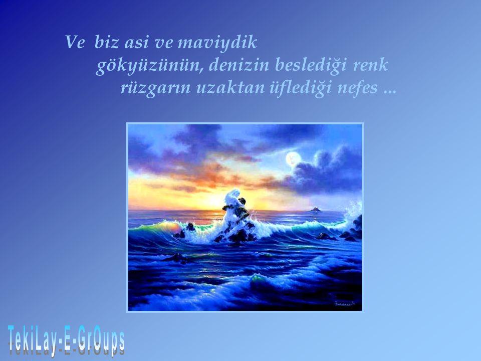 gökyüzünün, denizin beslediği renk rüzgarın uzaktan üflediği nefes ...