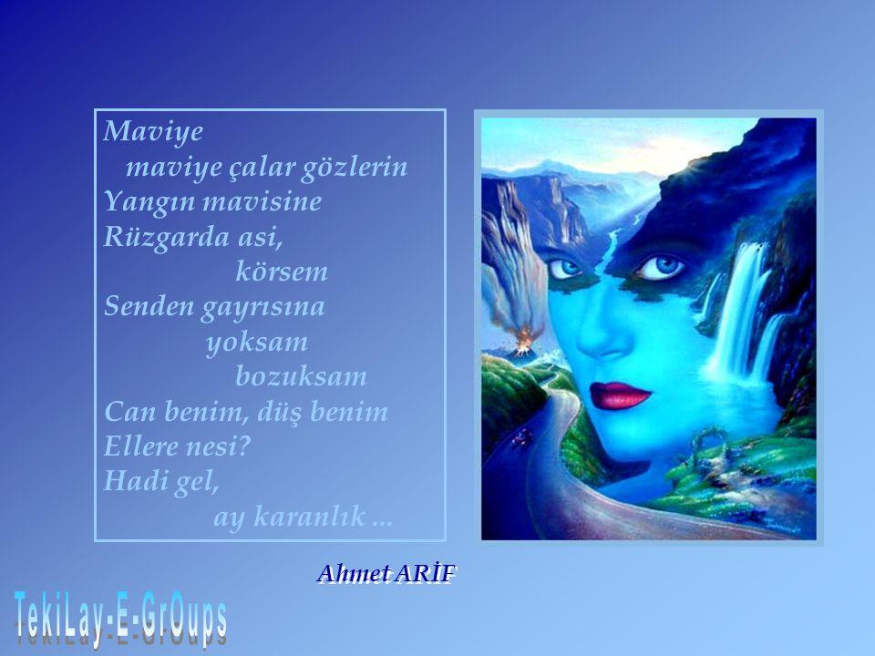 Maviye maviye çalar gözlerin Yangın mavisine Rüzgarda asi, körsem