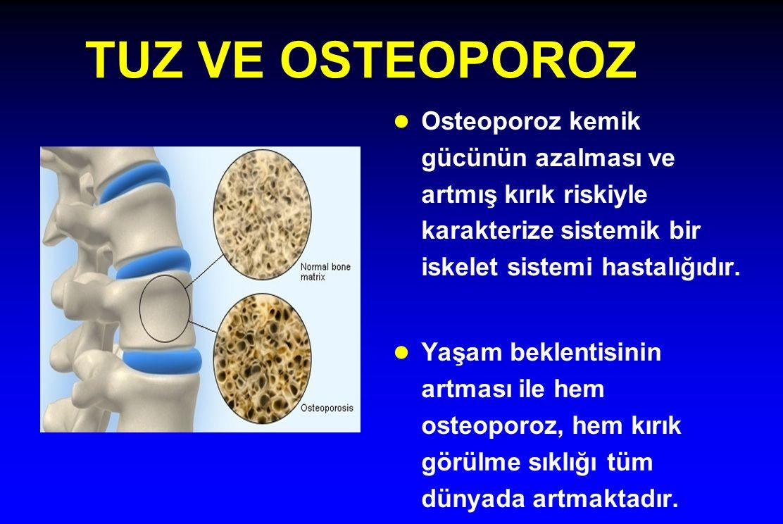TUZ VE OSTEOPOROZ Osteoporoz kemik gücünün azalması ve artmış kırık riskiyle karakterize sistemik bir iskelet sistemi hastalığıdır.