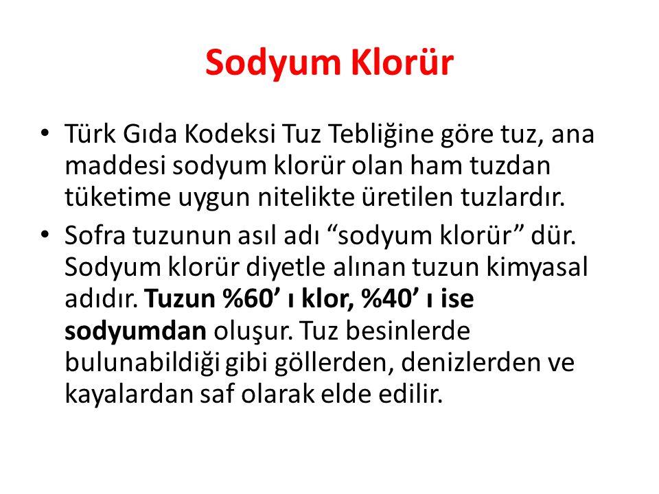 Sodyum Klorür Türk Gıda Kodeksi Tuz Tebliğine göre tuz, ana maddesi sodyum klorür olan ham tuzdan tüketime uygun nitelikte üretilen tuzlardır.
