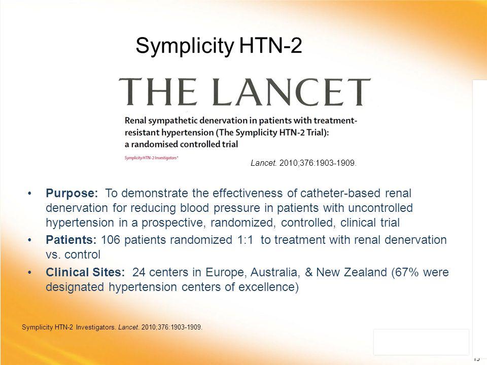 Symplicity HTN-2 Lancet. 2010;376:1903-1909.
