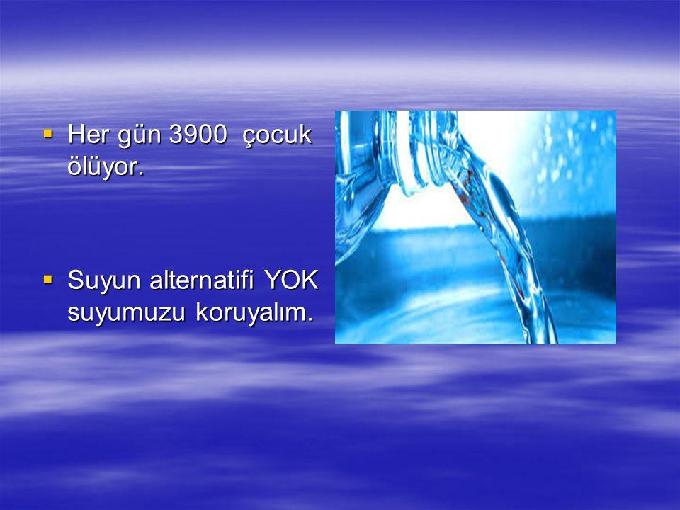 Her gün 3900 çocuk ölüyor. Suyun alternatifi YOK suyumuzu koruyalım.