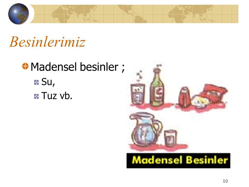 Besinlerimiz Madensel besinler ; Su, Tuz vb.