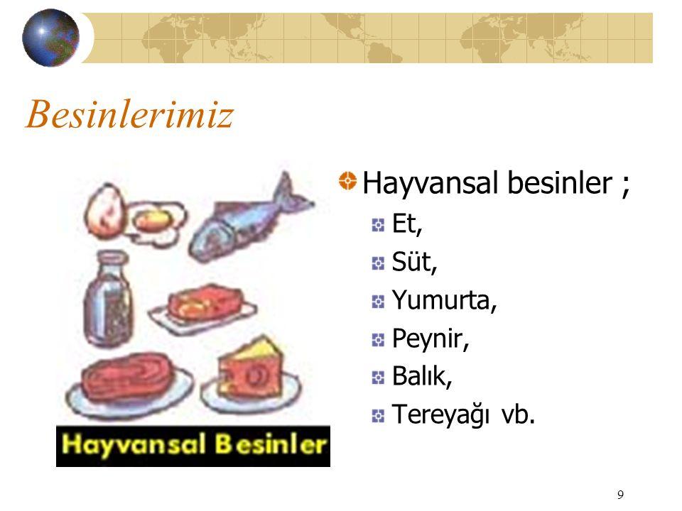 Besinlerimiz Hayvansal besinler ; Et, Süt, Yumurta, Peynir, Balık,