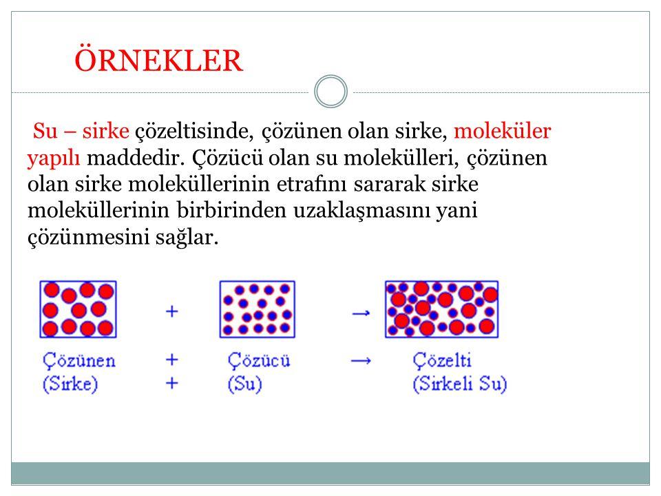 Su – sirke çözeltisinde, çözünen olan sirke, moleküler yapılı maddedir