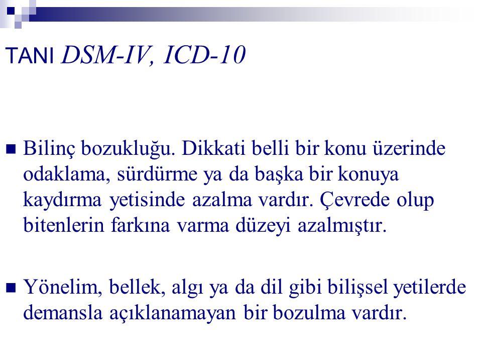 TANI DSM-IV, ICD-10