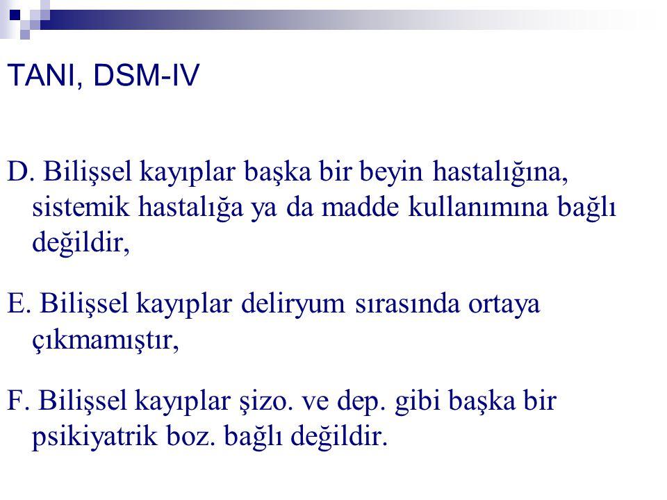 TANI, DSM-IV D. Bilişsel kayıplar başka bir beyin hastalığına, sistemik hastalığa ya da madde kullanımına bağlı değildir,