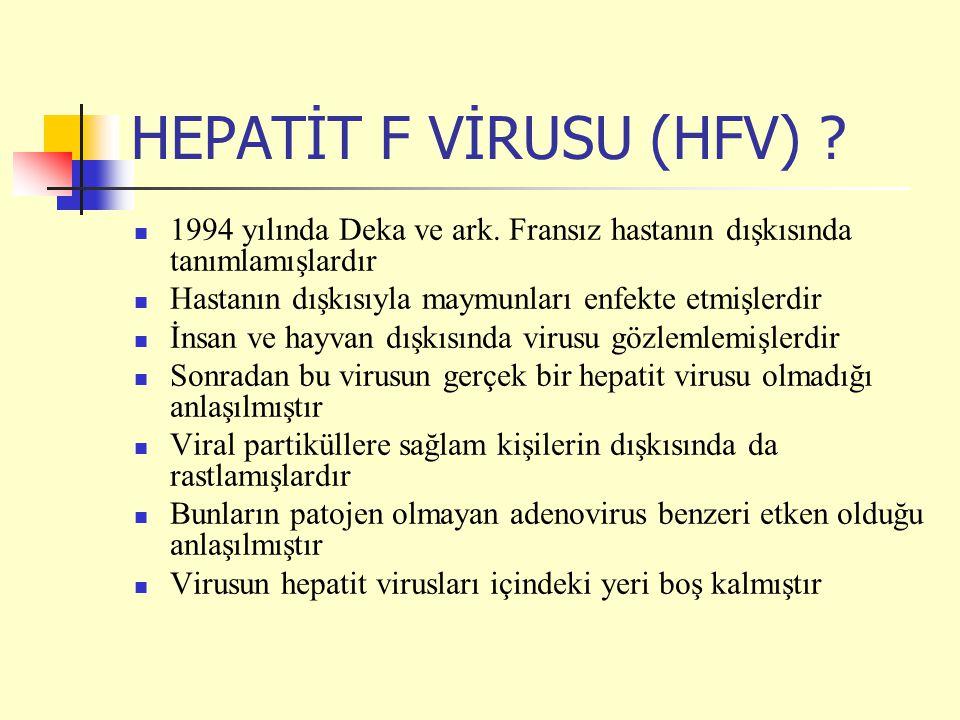 HEPATİT F VİRUSU (HFV) 1994 yılında Deka ve ark. Fransız hastanın dışkısında tanımlamışlardır. Hastanın dışkısıyla maymunları enfekte etmişlerdir.