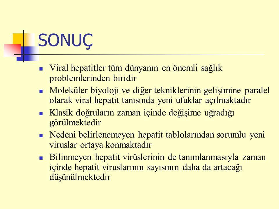 SONUÇ Viral hepatitler tüm dünyanın en önemli sağlık problemlerinden biridir.