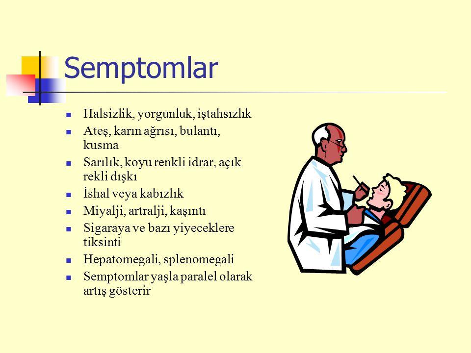 Semptomlar Halsizlik, yorgunluk, iştahsızlık