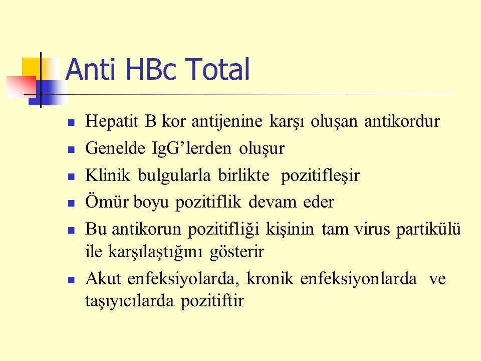 Anti HBc Total Hepatit B kor antijenine karşı oluşan antikordur