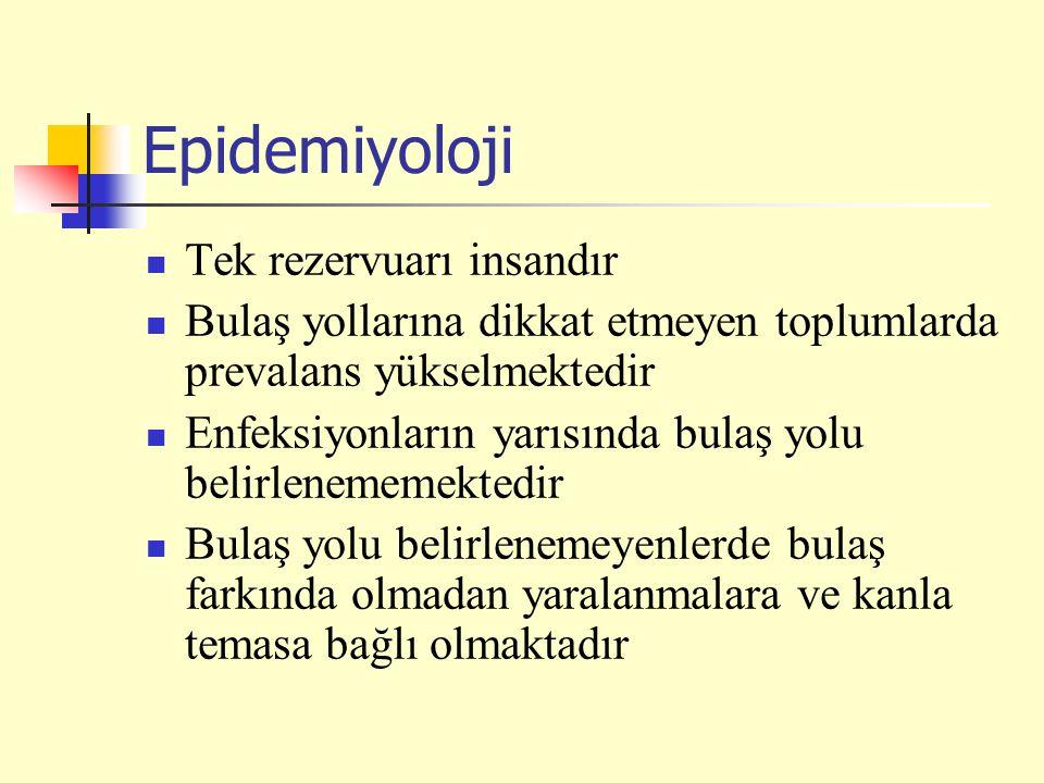 Epidemiyoloji Tek rezervuarı insandır
