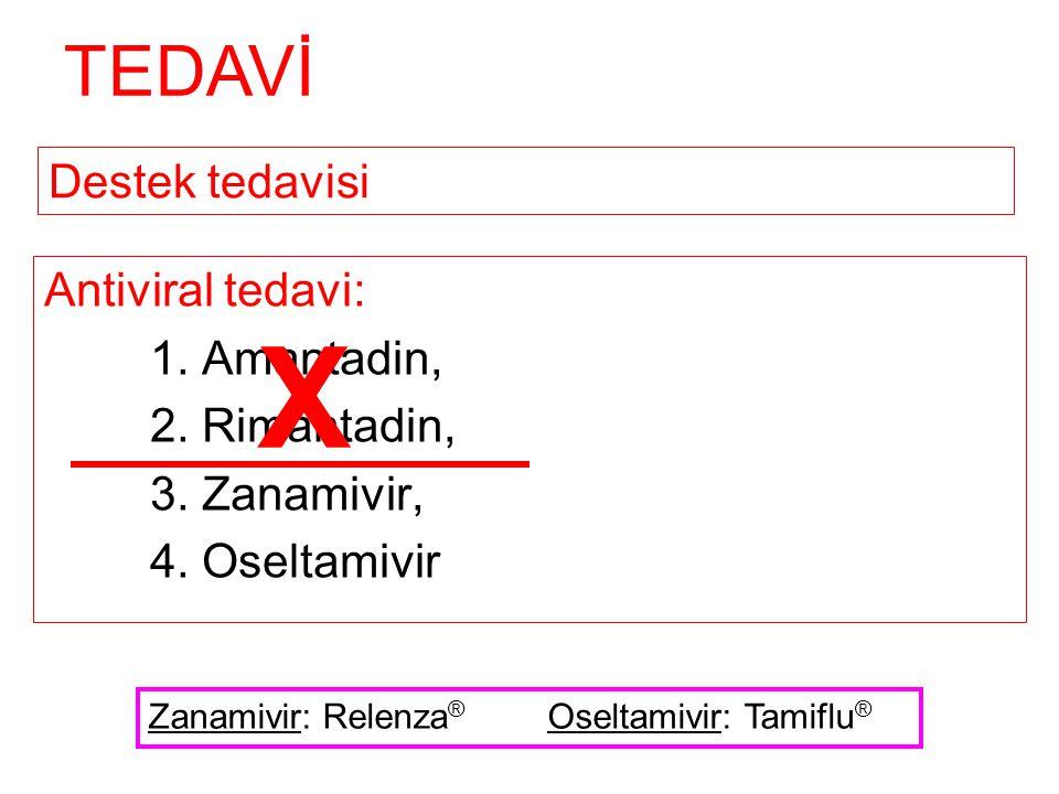 X TEDAVİ Destek tedavisi Antiviral tedavi: 1. Amantadin,