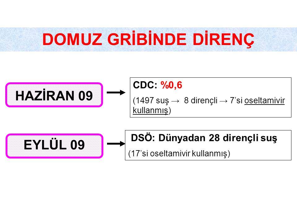 DOMUZ GRİBİNDE DİRENÇ HAZİRAN 09 EYLÜL 09 CDC: %0,6