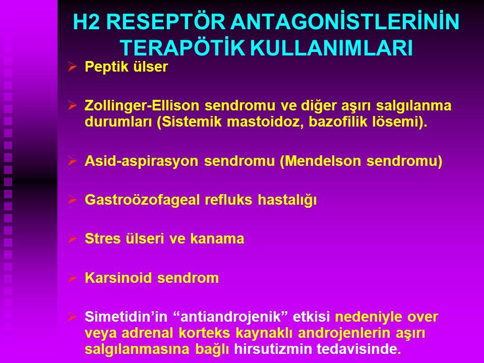 H2 RESEPTÖR ANTAGONİSTLERİNİN TERAPÖTİK KULLANIMLARI