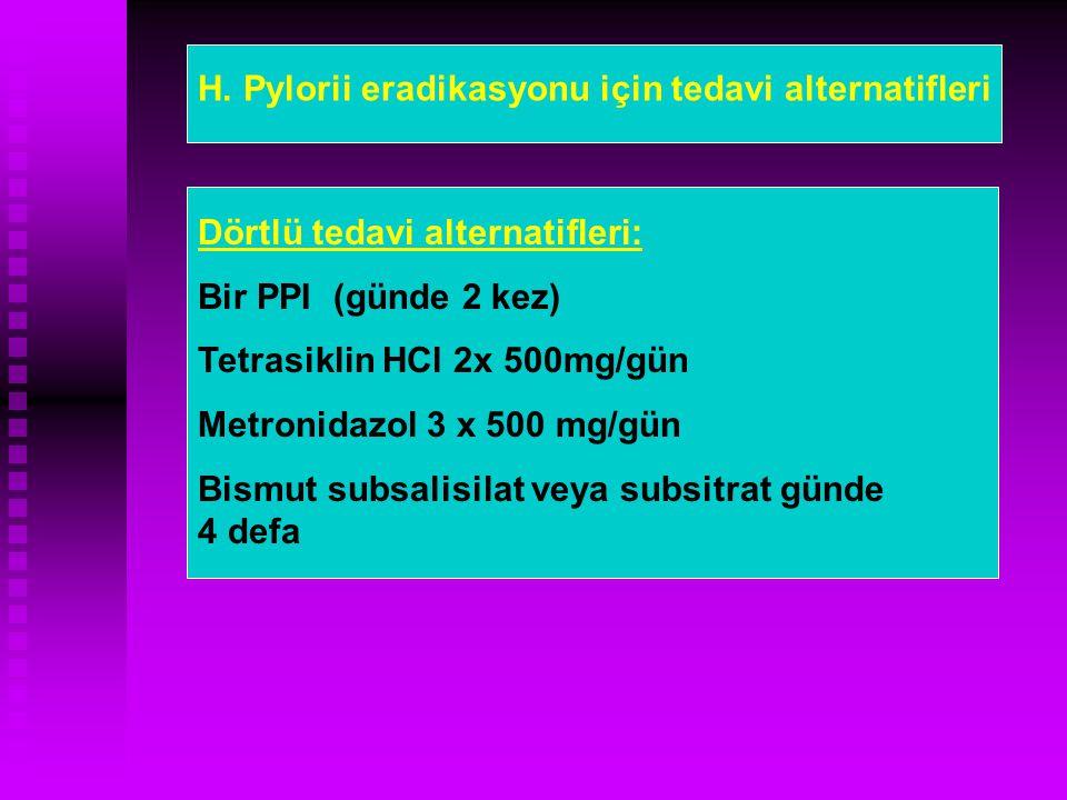 H. Pylorii eradikasyonu için tedavi alternatifleri